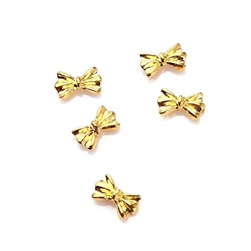 5Pcs Kit Décoration Nail Art Noeuds Papillon Métal 3D Manucure DIY Ongle Or RAIN QUEEN