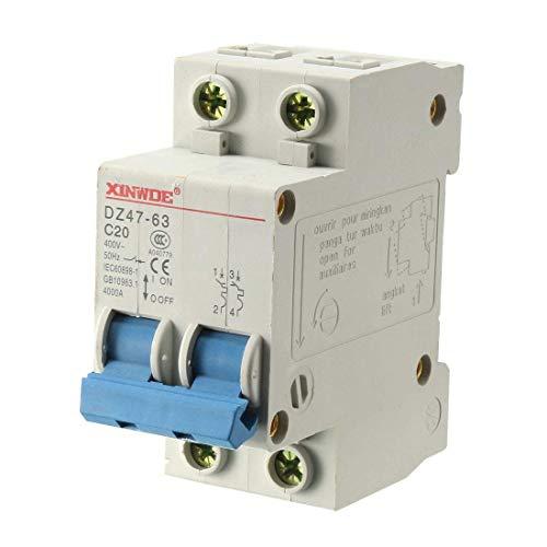 Din Mount Circuit Breaker (ZCHXD 2 Poles 20A 400V Low-voltage Miniature Circuit Breaker Din Rail Mount DZ47-63 C20)