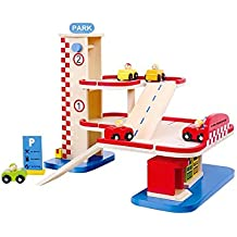 Tooky Toy Parking y gasolinera de madera. Juguete educativo a partir de 3 años