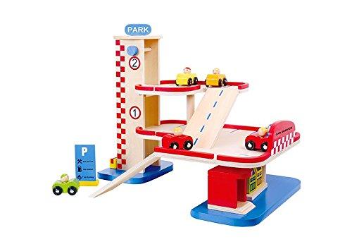 Tooky Toy Parking y gasolinera de madera. Juguete educativo a partir de 3 años