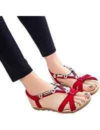ZARLLE Sandalias De Mujer 2018 Sandalias Bohemias Plataformas Chancletas Zapatillas Slim Chanclas Mujer Zapatillas De Verano Casuales Sandalias Planas Zapatos De Playa Con