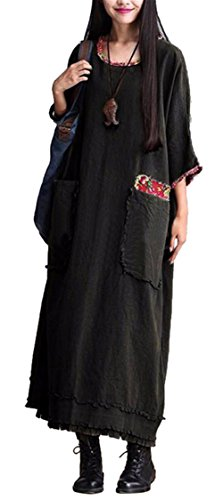 Femmes Rétro Style chinois Impression Patch Loose Plus Size Lin Cotton Long Dress Noir