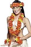 Smiffy'S 22502 Set Hawaiano Rojo Con Collar Guirnalda Para La Cabeza Y Pulsera, Rojo