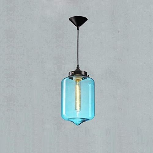 FNCUR Einzelkopf Mundgeblasen Blau Blase Glas Zylinder Lampenschirm Pendelleuchte Esszimmer Beleuchtung Bar Küche Kronleuchter Hängende Beleuchtung E27 Moderne Eisen Metall Decke Pendelleuchte -