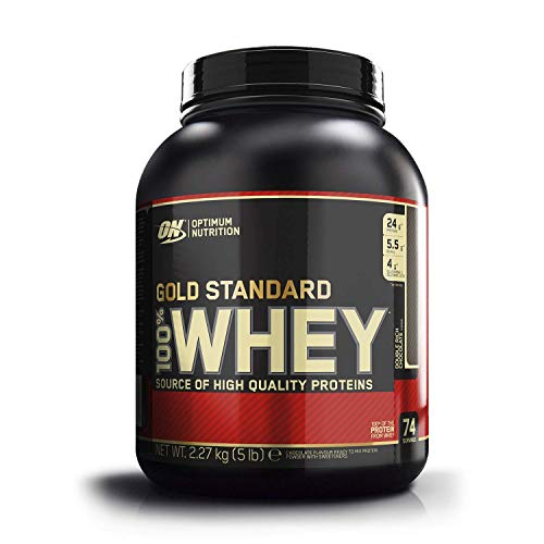 Optimum Nutrition Gold Standard Whey Eiweißpulver (mit Glutamin und Aminosäuren. Protein Shake von ON), Double Rich Chocolate Eiweiß, 74 Portionen, 2,27kg