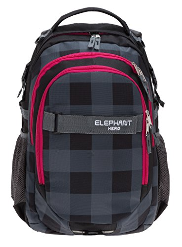 ELEPHANT Schulrucksack HERO SIGNATURE Rucksack (12609 Plaid Red (Schwarz Rot/Pink) (Plaid Pink)