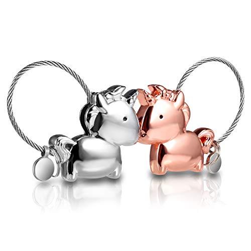 Qgwz portachiavi amante 1 paio carino key chain e uomo donna amore ad anello con bocca magnetica, regalo per coppia fidanzata, lega di zinco, argento e oro rosa