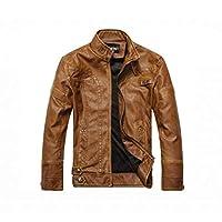 90b1ce8b Autumn Winter Fashion Trendy Coat Zip Up Jacket Men's Brown Faux Leather  Motorcycle Jacket Plus Velvet