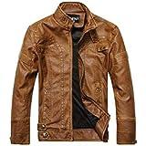Autumn Winter Fashion Trendy Coat Zip Up Jacket Men's Faux Leather Motorcycle Jacket Plus Velvet Warm Comfy Handsome Casual W