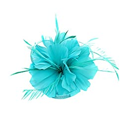 Phenovo Vintage Woman Feather Fascinator Hair Clip for 20s Great Gatsby Charleston Party Tea Party - lake blue