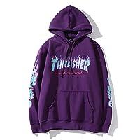 Thrasher Flame Magazine Hoodie Sweater Hoodie Casual Sweatshirt for Men and Women (purple, X-Large)