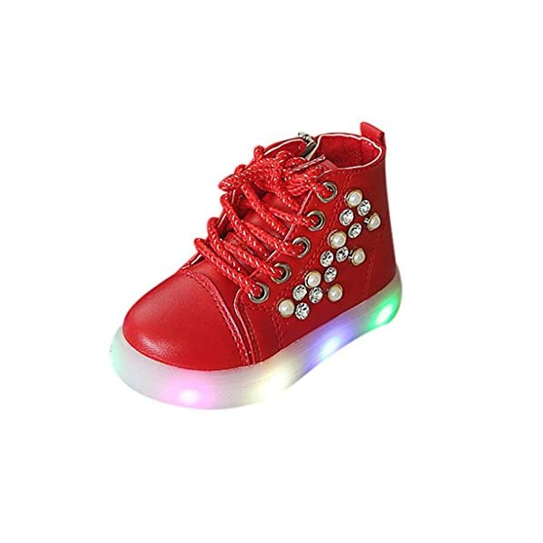 Zapatillas LED para niños Niños Baby Girls Pearl Crystal Led Light Luminous Running Sport Botas Zapatos 1