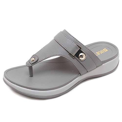 Plattform Keil Flip Flop Sandalen mit Strass, Grau 41EU ()