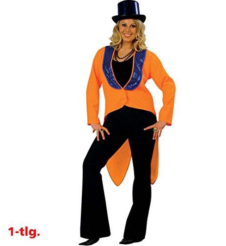 k orange Dompteurin, Showmasterin, Circus-Anzug,orange-Blaue Frack-Weste, Damen-Kostüm, Frauen-Kostüm (38) ()