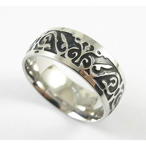 JIEZHI Titan V65 Vintage Dekorative Muster Ring Edelstahl Ringe Für Frauen Hochzeit Ringe Edlen Schmuck