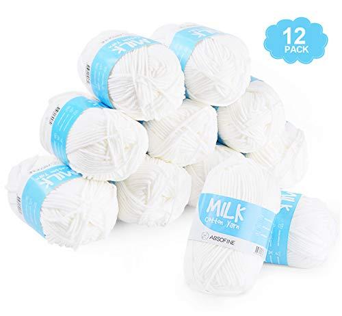Absofine 12x50g weiß Milch Cotton Handstrickgarn weiche Häkelgarn Strick Garn Ball für DIY Kunsthandwerk handgemacht