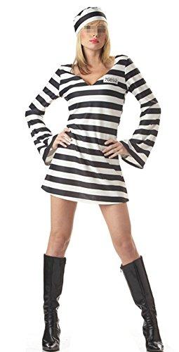 Imagen de disfraz de preso traje de prisionero convicto para mujeres vestuario carnaval talla m