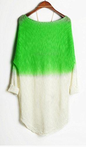 Bigood Femme Tops Couleurs Mélange Rond Col Bat Blouse Sweater Vert Clair