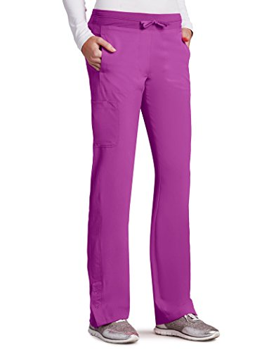 Barco One Women's 5205 Low Rise Knit Waist Cargo Track Scrub Pant- Bright Violet- 2X-Large (Barco Scrubs)