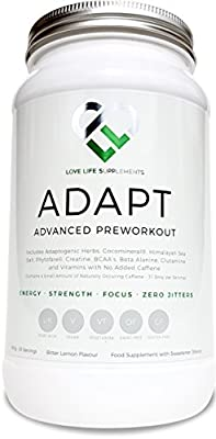 ADAPT Advanced Pre-workout by LLS | 900g - 30 Servings | Blend of Adaptogenic Herbs, Creatine, BCAA's, Beta-Alanine, Glutamine and Much More | No Added Caffeine - No Jitters | Energy - Mental Clarity - Focus - Reduced Fatigue | Bitter Lemon Flavour - Swee