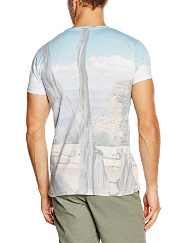 ESPRIT Herren T-Shirt 056ee2k019-mit Sublimation Print-Slim Fit Mehrfarbig (WHITE 2 101)