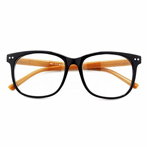 CGID CN81 Damen Herren Styler klassische Nerdbrille Streberbrille Pantobrille 80er Jahre Klarglas Fashion Oversized Nerd Geek Style,Schwarz Braun