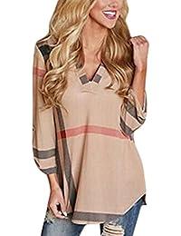ELFIN® Femme Elégante Chemisier Col V Blouse Hauts Manches 3/4 Loose Casual Chemise à Carreaux Shirt