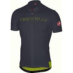 Castelli Maillot De Ciclismo De Manga Corta 2018 Prologo V Anthracite (M, Negro)