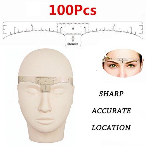 Cejas regla, 100pcs desechables Cejas regla adhesivo, adhesivo Cejas microblading regla guía para maquillaje herramienta