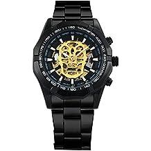 Callujo Moda Casual Negro Automático Mecánico Hombres Reloj de Pulsera de Acero Inoxidable Calavera Dorado Esqueleto