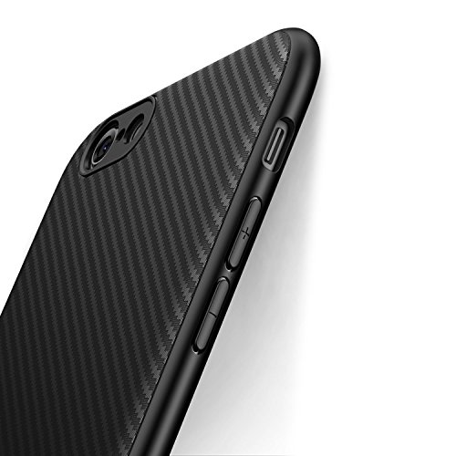 Funda iPhone 6, Funda iPhone 6s, J Jecent [Textura Fibra de Carbono] Carcasa Ligera Silicona Suave TPU Gel Bumper Case Cover de Protección Antideslizante [Anti-Rasguño] [ Anti-Golpes] Caso para iPhone 6 / iPhone 6s (2015) 4.7'-Negro
