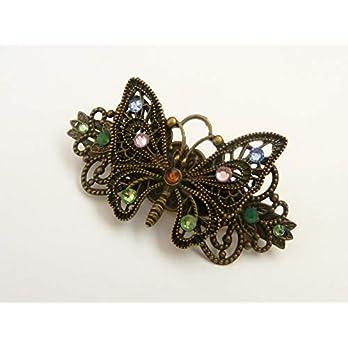 Haarspange mit Schmetterling und buntem Strass