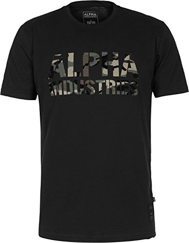 Alpha Industries Camo Print T-Shirt M black/woodland (True-fit-camo-t-shirts)