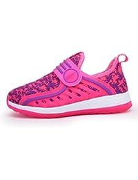 Unisex-Kinder Sneaker Laufschuhe Hohl Atmungsaktiv Klettverschluss Leuchtend Sportschuhe Ultraleicht Streifen Schick Schuhe Pink 32