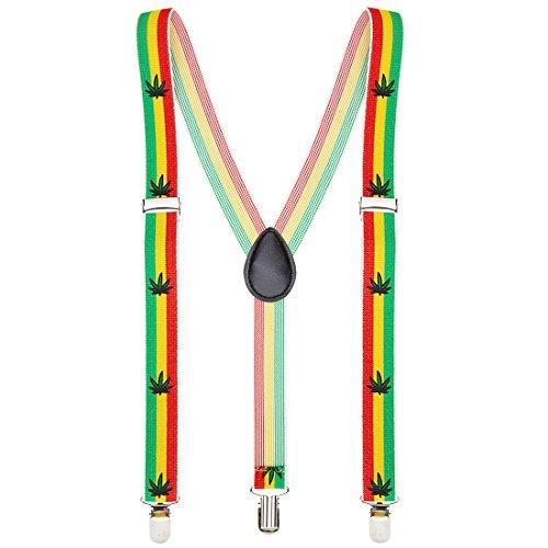 Reggea Hosenhalter Jamaika Hosenträger bunt Kiffer Y-Form Hosen Träger Hippie Bundhalter Rastafari Kostüm Accessoire Hanf Braces Herren (Kiffer Kostüm)