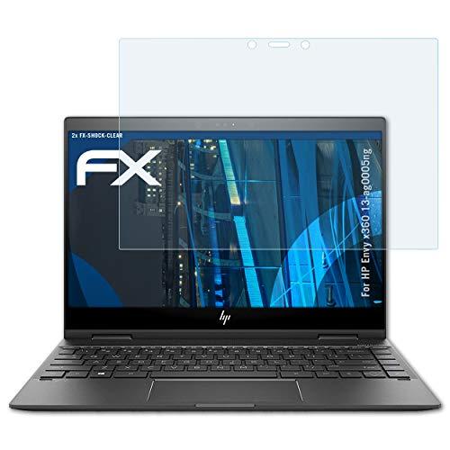 atFolix Schutzfolie kompatibel mit HP Envy x360 13-ag0005ng Panzerfolie, ultraklare & stoßdämpfende FX Folie (2X)