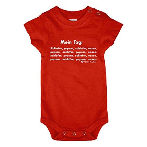 Babybody - Baby Body - Geburt - Dein Baby hat wie jedes andere Baby auch einen ziemlich festen Tagesplan, der aus all den Dingen besteht, die ein Baby so macht, schlafen, essen, pupsen, schlafen, pupsen und essen. Mit diesem coolen Babyspruch, auf einem farbenfrohen Babybody gedruckt, kannst du allen Leuten zeigen, wie der Tag von deinem Schatz aussieht. verschiedene Grössen ein ideales Geburtsgeschenk (80 - 86)