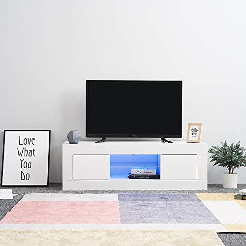 Hochglanz Weiss Tv Schrank (Panana TV Board Lowboard Fernsehschrank weiß Hochglanz 125 x 35 x 40cm inkl. Mehrfarbiges LED)
