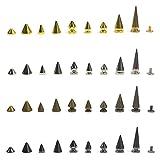 50pcs x Focos de picos de cono de remaches de tornillos Punk Rock de piel, respaldo Craft DIY Bullet, Plateado, 9.5mm x 6mm