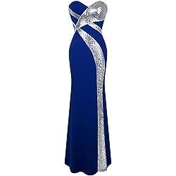 Angel-fashions Robe de Soiree pour Femme Bleu L