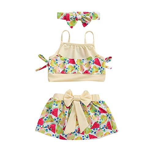 MOIKA Bikini-Badeanzug-Badebekleidung für Babys 12Monate-5Jahre, Kinder Kinder Mädchen Strand Hosenträger Tops + Rock + Stirnbänder Strand Schwimmen Set