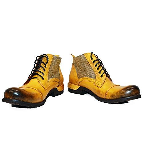 PeppeShoes Modello Buecello - 43 - Handgemachtes Italienisch Bunte Herrenschuhe Lederschuhe Herren Gelb Stiefel Stiefeletten - Rindsleder Handgemalte Leder - Schnüren