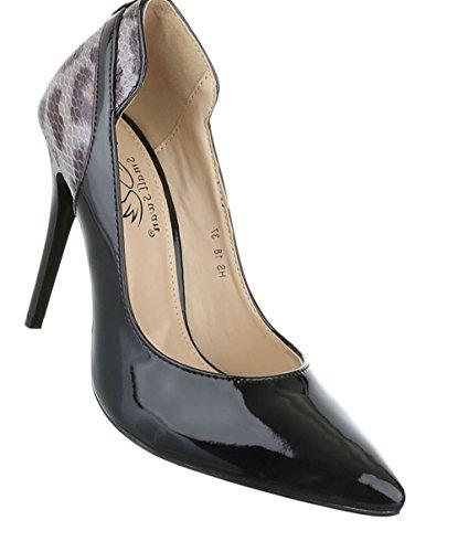 2999b8009ae0 Damen Pumps Schuhe High Heels Stöckelschuhe Stiletto Schwarz Braun 36 37 38  39 40 Schwarz