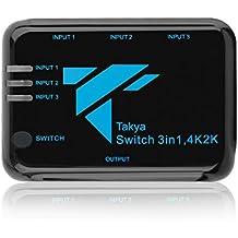 Takya 3x1 HDMI1.4 Switch con control remoto inalámbrico y adaptador de corriente alterna | Soporta 4K x 2K y 3D de entrada 3 puertos HDMI1.4 3x1 Powered Switch