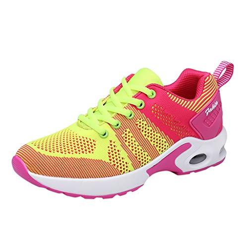 BBsmlie Zapatillas Deportivas de Mujer - Talla 36 a 41 - Casual Verano Zapatos Deportes con Cordones - Transpirables Ligero Antideslizante Sneakers para Running Fitness Gimnasia