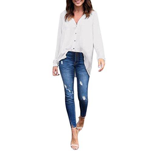 Langarm Shirt Damen Sunday Große Größe Reine Farbe Lose Bluse Freizeithemd Chiffon Freizeit Tops (Weiß, 4XL) (Tee Schwarzen Zeigen T-shirt Sie)