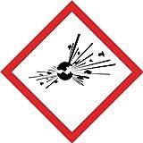 1000 Stück Aufkleber GHS Kennzeichen Gefahrensymbol GHS01 Explodierende Bombe Papier Etiketten, ES-GHS-01-PA-15x15, Größen auswählbar