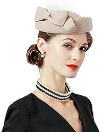 OLADO Fascinator Elegante para Mujer Caqui Negro Lana Sombreros de Fieltro  Boda Fedora Bow con Sombrero 517f24bcf30
