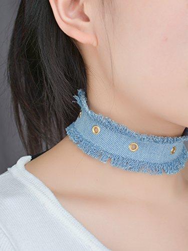 aukmla Fashion Gargantilla con circular orificios, hecho a mano tela vaquera collar para las mujeres y las niñas