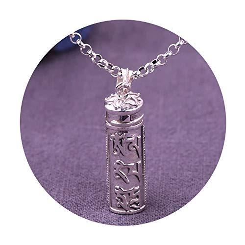 Beydodo 1PCS 925 Silber Halskette Herren 6 Mantra Amulet Kasten Anhänger Kette Freundschaftskette Hip Hop Kette Silber